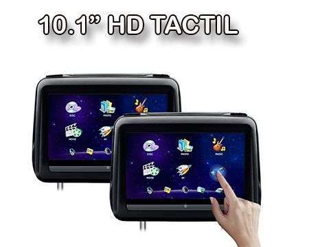 "2x10.1"" REPOSACABEZAS HD PANTALLA TACTIL DVD SD USB HDMI NEGRO"