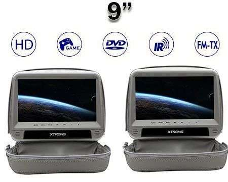 "2X9"" HEADREST HD DVD SD USB HDMI ANTI-THEFT GREY"