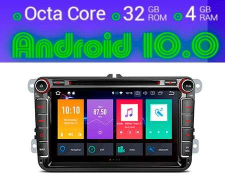 "8"" ANDROID 10 OCTACORE 4GB+32GB CAR DVD GPS CARPLAY VW