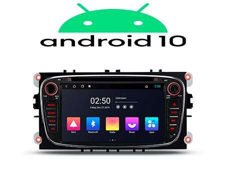 "7"" ANDROID 10 2K QUADCORE CAR DVD GPS 3 ZONE WIFI FORD BLACK"