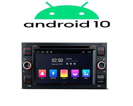 "7"" ANDROID 10 QUADCORE 2K CAR DVD GPS 3 ZONE WIFI FORD BLACK"