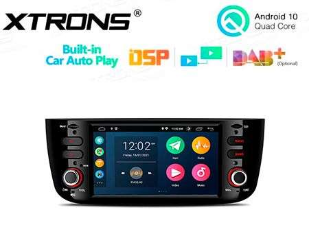 "6.2"" ANDROID 10 CARPLAY CAR GPS DSP 3ZONE 4X50W FIAT PUNTO/LINEA"