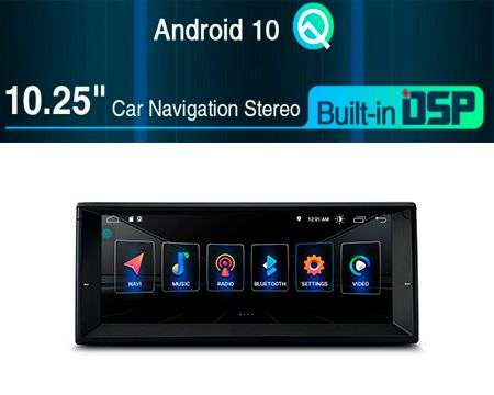 "10.25"" ANDROID 10 DSP QUADCORE CAR GPS 3 ZONE BMW 5 E39, 7 E38"