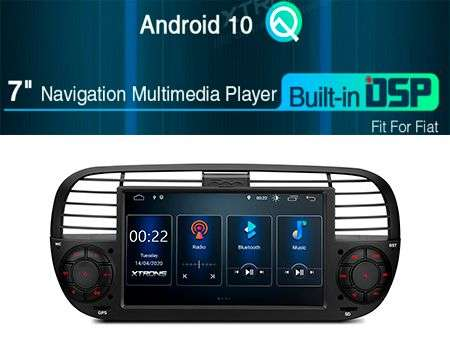 "7"" ANDROID 10 DSP QUADCORE CAR GPS 3 ZONE FIAT 500"