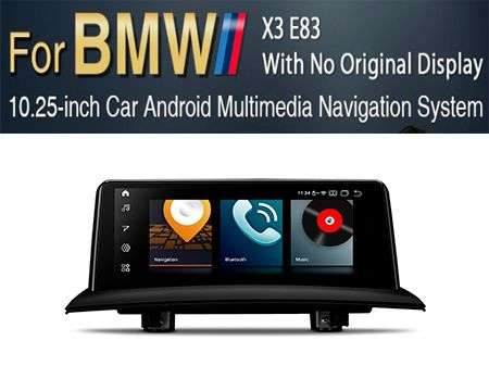 "10.25"" 4G QUALCOMM 8CORE 4+64GB GPS ANDROID 10 BMW X3 E83 W/OUT"