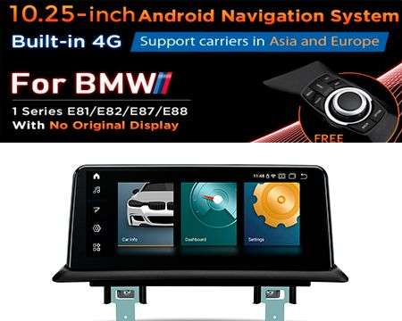 "10.25"" 4G QUALCOMM 4CORE 2+32GB GPS ANDROID 10 BMW 1 E81 WITHOUT"