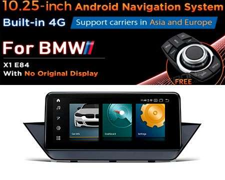 "10.25"" 4G QUALCOMM 4CORE 2+32GB GPS ANDROID 10 BMW X1 E84 NO SCR"